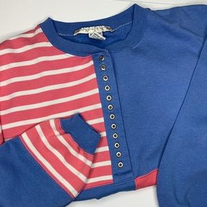 Vintage 80s Sweatshirt Boxy Fit Pink Blue Stripes